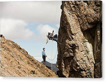 Climbers Abseiling Canvas Print