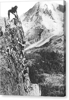 Climbers On Pinnacle Peak Canvas Print by Underwood Archives