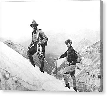 Climbing In The Rockies Canvas Print by Underwood Archives