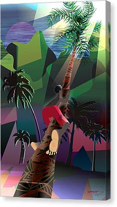Climbing The Coconut Tree Canvas Print by David James