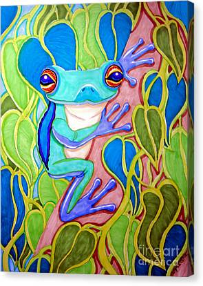 Climbing Tree Frog Canvas Print by Nick Gustafson