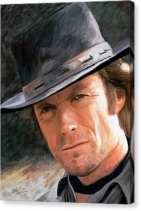 Clint Eastwood Canvas Print by James Shepherd