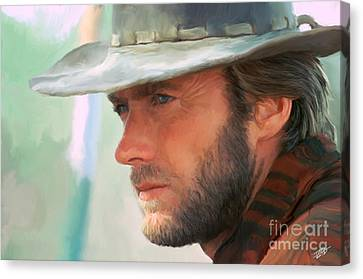 Curtains Canvas Print - Clint Eastwood by Paul Tagliamonte
