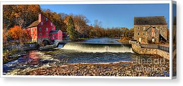 Clinton Red Mill House White Border Panoramic  Canvas Print