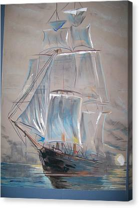 Canvas Print featuring the mixed media Clipper In Mist by Peter Suhocke