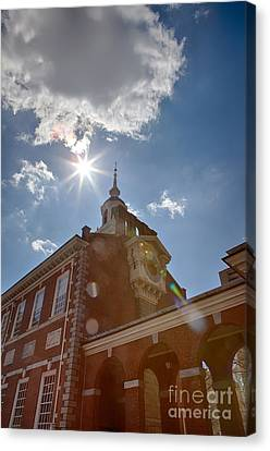 Clock At Independence Hall Canvas Print by Kay Pickens