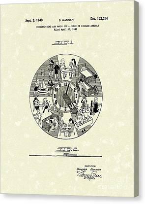 Clock Hands Canvas Print - Clock Hands 1940 Patent Art by Prior Art Design
