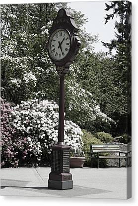 Canvas Print featuring the photograph Clock In Park Muted by Laurie Tsemak