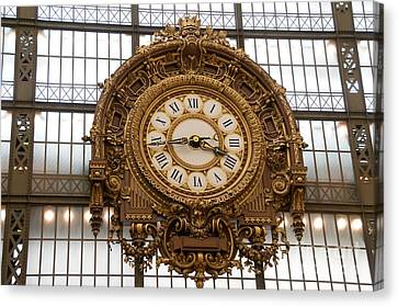 Clock In The Musee D'orsay. Paris. France Canvas Print by Bernard Jaubert