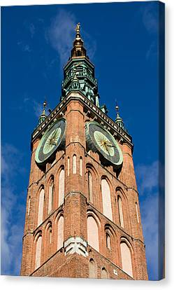 Clock Tower Of Main Town Hall In Gdansk Canvas Print by Artur Bogacki