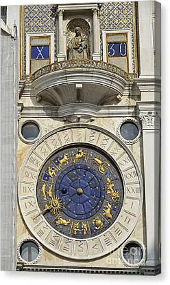 Clock Tower On Piazza San Marco Canvas Print by Sami Sarkis
