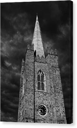 Canvas Print featuring the photograph Clock Tower - St. Patrick's Cathedral - Dublin by Photography  By Sai