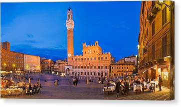 Clock Tower With A Palace In A City Canvas Print