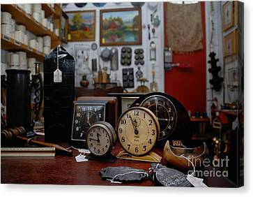 Hand Canvas Print - Clocks Keeping Time In An Antique Shop by Amy Cicconi