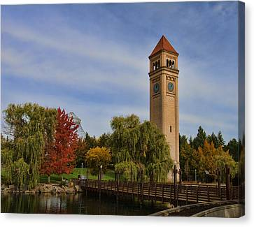 Clocktower Fall Colors Canvas Print by Paul DeRocker