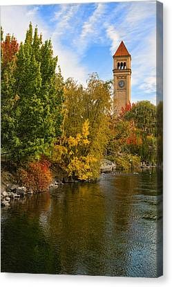 Clocktower In Fall Canvas Print
