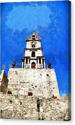 Clocktower With Guarding Knights Painting Canvas Print by Magomed Magomedagaev