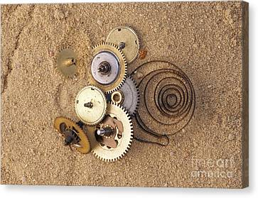 Clockwork Mechanism On The Sand Canvas Print by Michal Boubin