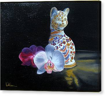 Canvas Print featuring the painting Cloisonne Cat by LaVonne Hand