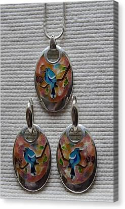 Cloisonne Enamel Silver Earrings And Pendant Set Canvas Print by Nino Berdzenishvili