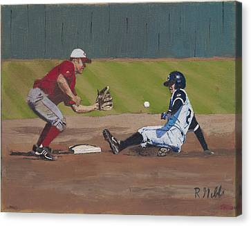 Close Play At Second Canvas Print by Ron Gibbs