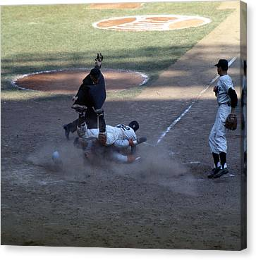 Close Play At The Plate  Canvas Print by Retro Images Archive