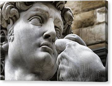 Statue Of David Canvas Print - Close-up Face Statue Of David In Florence by David Smith