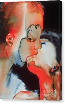The Kiss Canvas Print - Close Up Kiss by Graham Dean