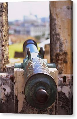 Close-up Of A Cannon At A Castle Canvas Print by Panoramic Images