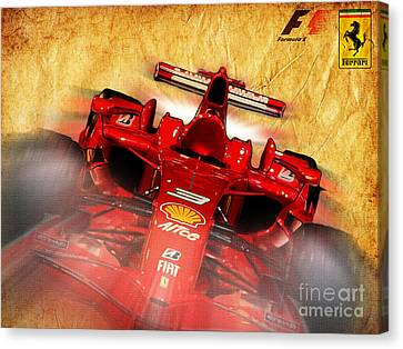 Indy Car Canvas Print - Close-up Of A Ferrari by Stefano Senise