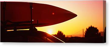 Close-up Of A Kayak On A Car Roof Canvas Print
