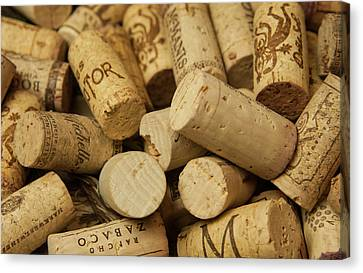 Close-up Of A Pile Of Wine Cork Canvas Print