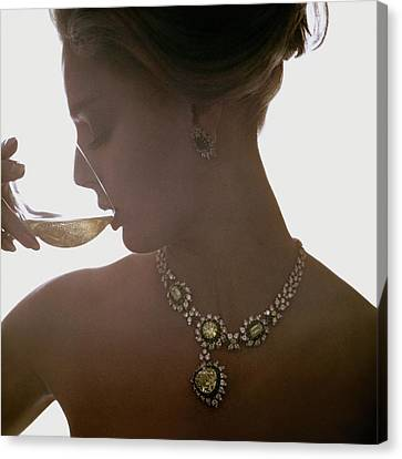 Necklace Canvas Print - Close Up Of A Young Woman Wearing Jewelry by Bert Stern