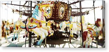 Amusements Canvas Print - Close-up Of Carousel Horses, Coney by Panoramic Images