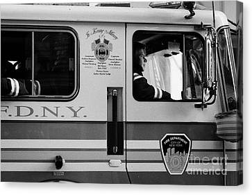 close up of FDNY fire engine and driver new york city Canvas Print by Joe Fox
