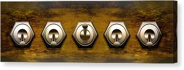 Close-up Of Five Switches Canvas Print