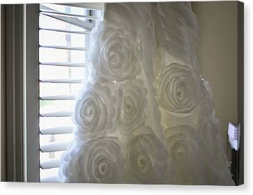 Close-up Of Flower Wedding Dress Canvas Print by Mike Hope