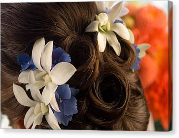 Close-up Of Flowers In A Brides Hair Canvas Print by Panoramic Images