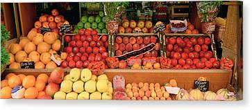 Close-up Of Fruits In A Market, Rue De Canvas Print by Panoramic Images