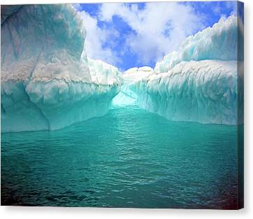 Antarctic Canvas Print - Close Up Of Iceberg With Fluted by Miva Stock