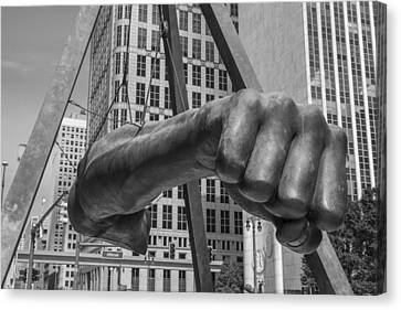 Close Up Of Joe Louis Fist Black And White  Canvas Print by John McGraw