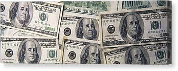 Close-up Of One Hundred Dollar Bills Canvas Print by Panoramic Images
