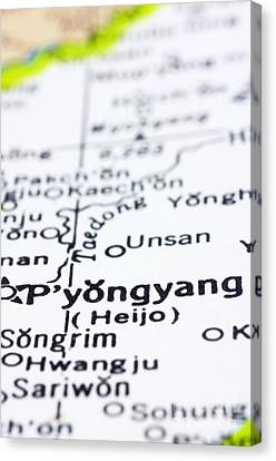 close up of Pyongyang on map-North Korea Canvas Print by Tuimages