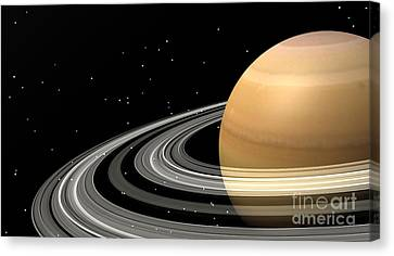 Close-up Of Saturn And Its Planetary Canvas Print