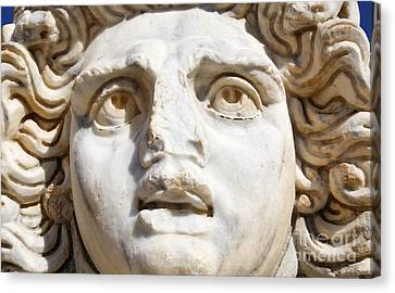 Close Up Of Sculpted Medusa Head At The Forum Of Severus At Leptis Magna In Libya Canvas Print by Robert Preston