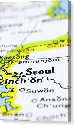 close up of Seoul on map-korea Canvas Print by Tuimages