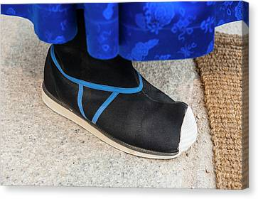 Close Up Of The Shoe Of A Guard Canvas Print by Michael Runkel