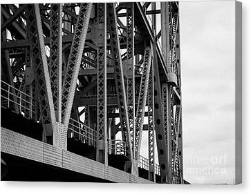 close up of the steel girders of the Broadway Bridge over the Harlem River new york city Canvas Print