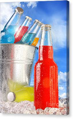 Close-up View Of Bottles With Ice  Canvas Print