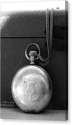 Closed Pocket Watch In Black And White Canvas Print